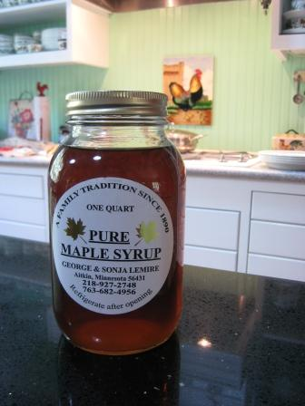 Maple syrup from their recent travels to Michigan.