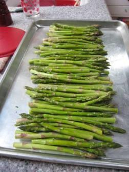 Prep the asparagus.